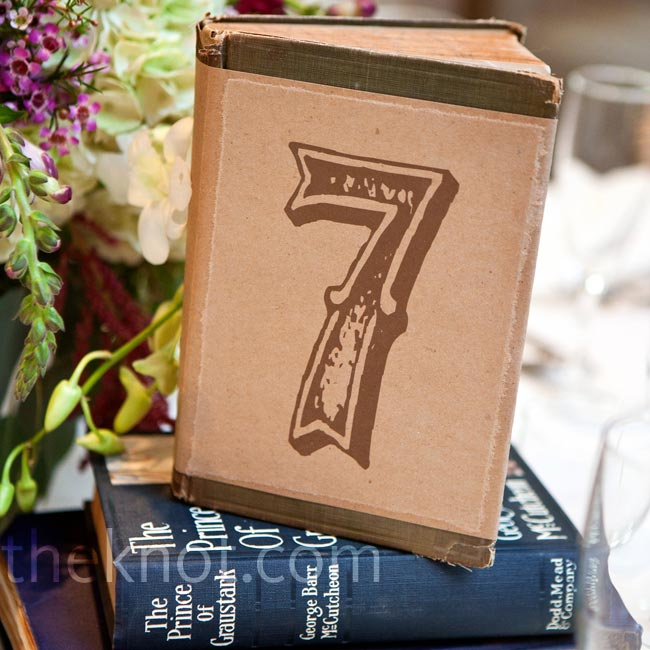 Stacked vintage books marked with numbers fit the antique vibe the couple was after.