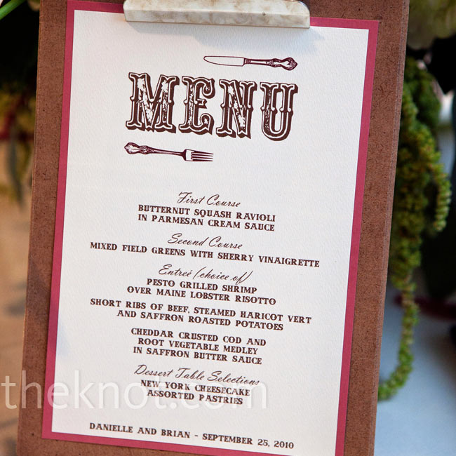 Menus were displayed on clipboards for a rustic look.