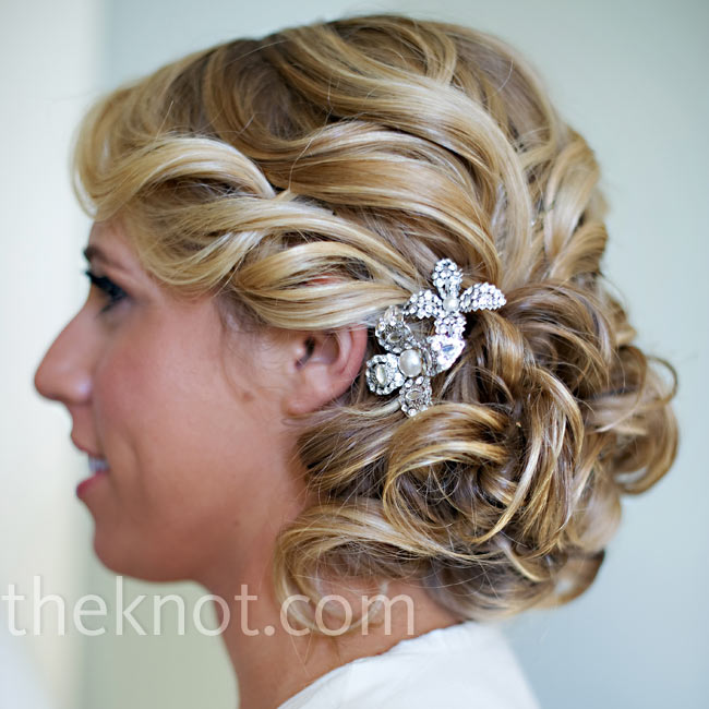 Loose Wedding Hairstyles: For Some Sparkle, Natalie Tucked Two Crystal Hairpins Into