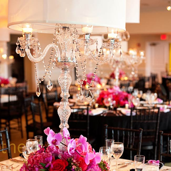 Tall crystal candelabras topped with lamp shades were more in line with Brooke's personal style.