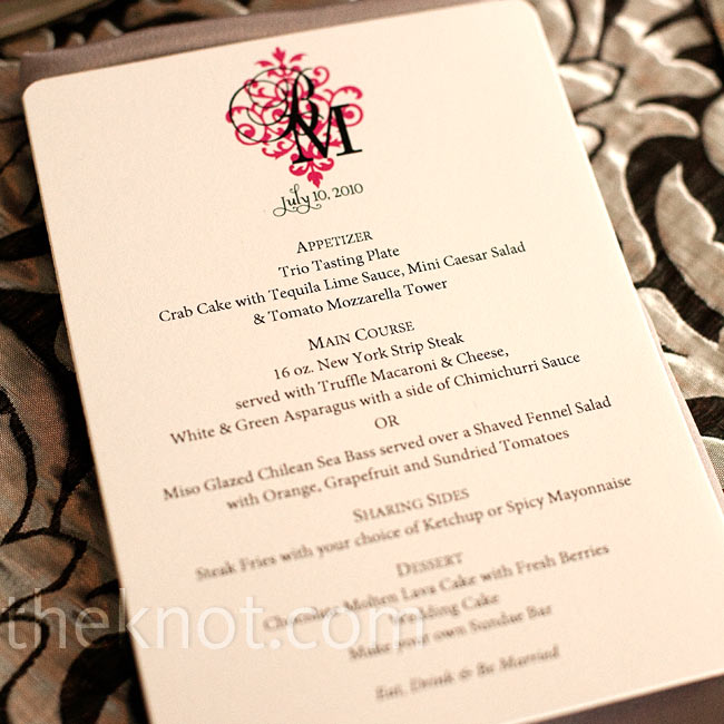 The couple ordered super-simple menu cards and dressed them up with their custom monogram.
