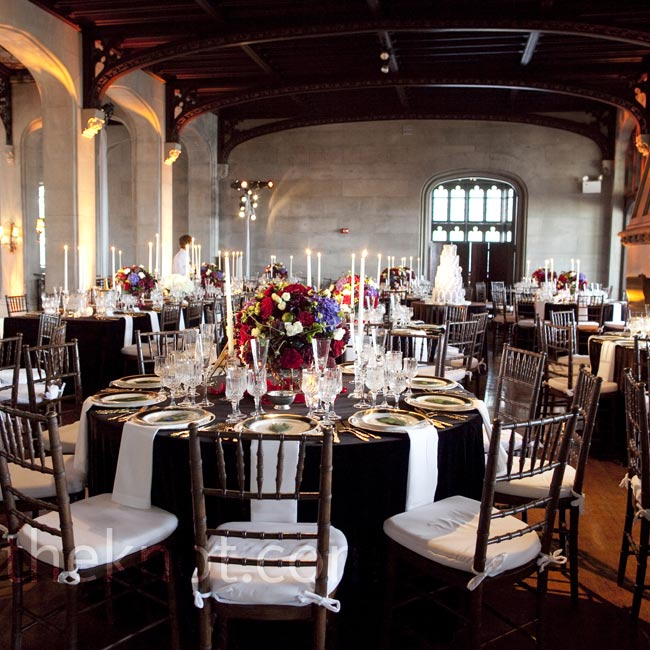 Cut-crystal glassware, taper candles and gold flatware had an opulent look to match the castle's interior.