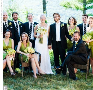 The bridesmaids wore green J. Crew dresses in various styles, while the guys wore dark suits and matching black-and-white ties.