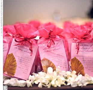 These favor bags were filled with Sri Lankan and Indian sweets made by the couple's families.