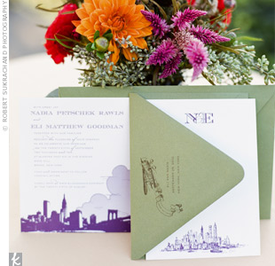 Nadia and Eli introduced guests to their New York wedding with plum-purple illustrations of the citys skyline on the invites.