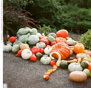 When the couple came across this display of pumpkins on the venues property, they knew they had to use them in the wedding d&#233;cor.