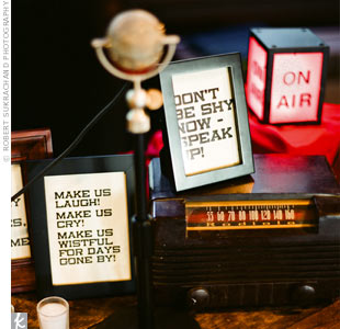 The couple set up a retro audio recording station as their guest book. Friends and family stopped by throughout the night to leave their best wishes.