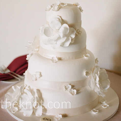 White Buttercream Flower Cake