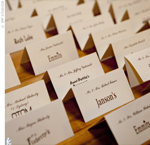 Each table was named after a place where Robin and Bill have memories with the people seated at that particular table. Robins dad researched all 35 locations to find their logos to include on the escort cards.