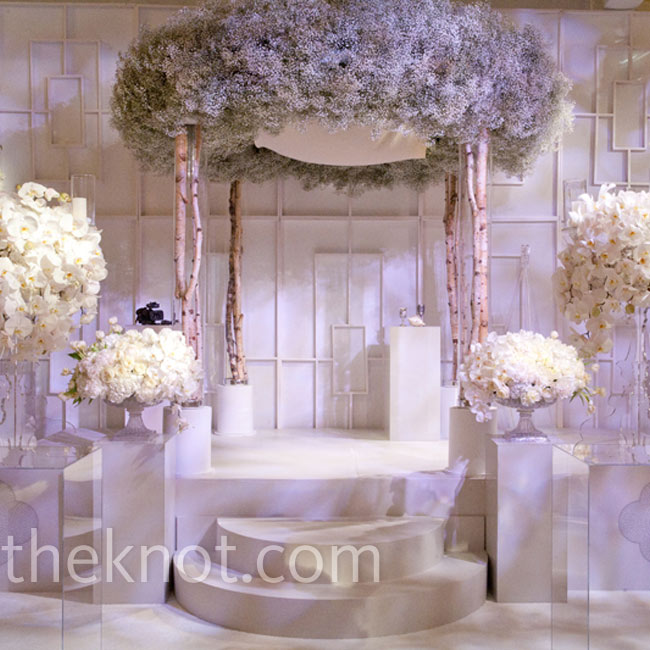 For this contemporary ceremony space, Todd displayed all natural elements (even the birch-tree columns!) in acrylic vases and pedestals.  Photo: Steve Wrubel Photography