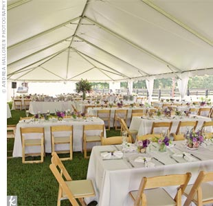 A hearty brunch of French toast and quiche was served beneath a tent after the morning ceremony. Dancing was saved for the evening after-party.