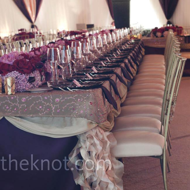 Ruffled fabric tufts add a subtle yet interesting touch to long banquet tables.