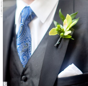 Mark's groomsmen wore green cymbidium orchids.