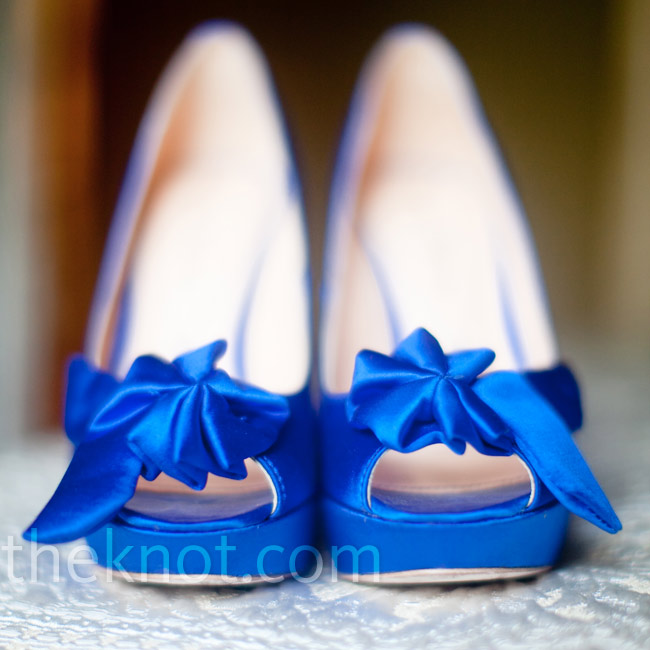 "Gina's shoes matched the bridesmaid dresses and were her ""something blue."" Inside, she taped a penny that her grandmother had worn in her wedding shoes."