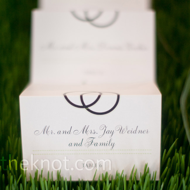 The cards themselves were tented, with a double ring design to symbolize wedding bands.