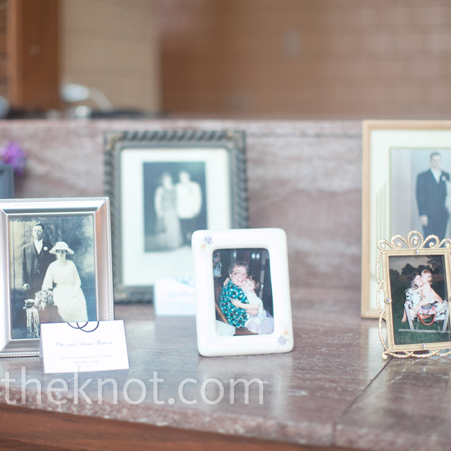 Old family photos added a personal touch to the reception décor.