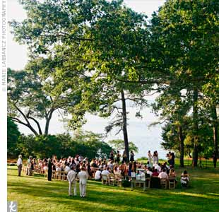 The couple exchanged vows on the front lawn of Tory's family estate, overlooking the Connecticut River.