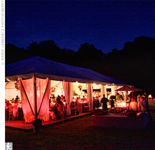 Rich draping and uplighting decorated the tent.
