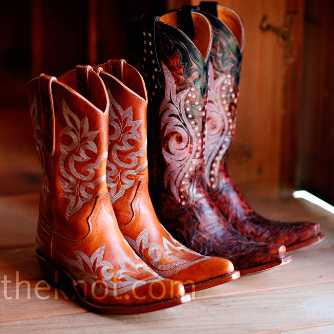 After the barefoot ceremony, Monica and Tory changed into these cowboy boots for dinner and dancing.