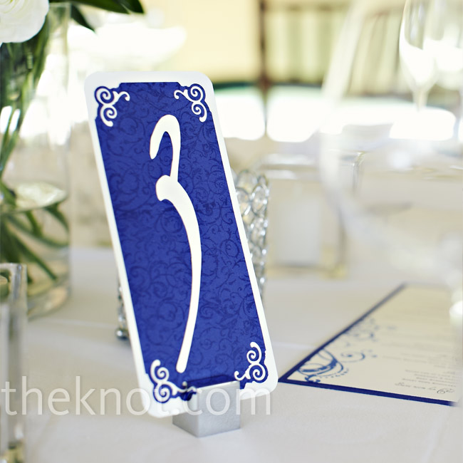 These blue table number cards, also made by Dana, were a nice bit of color on the tables.