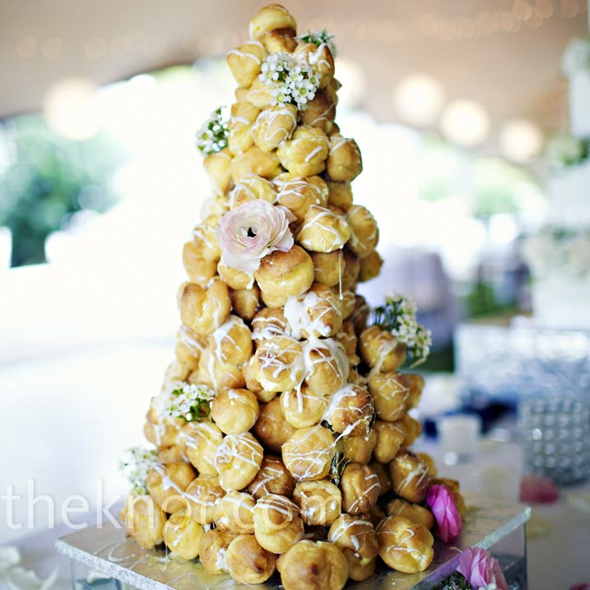 This croquembouche, caramel-filled profiteroles drizzled with chocolate, was a special treat for Johann.