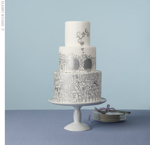 "A graffiti cake still says ""wedding"" when accented with sweet phrases and his-and-hers silhouettes.SweetandSaucyShop.com"