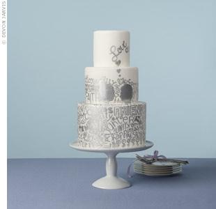 Modern Silver Wedding Cake