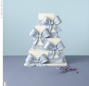 Blue Wedding Cake With Bows