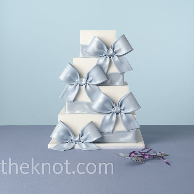Oversize bows are preppy, while perfectly square tiers give this cake a modern edge. Cake: MarkJosephCakes.com