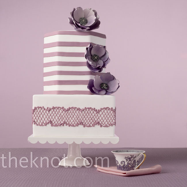 Between the mod stripes and the six-sided top tier, this design is a total showstopper.Cake: VanillaBakeShop.com