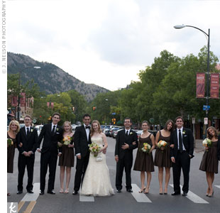 The bridesmaids wore chocolate scoop-neck dresses, while the guys kept it classic in black tuxedoes.