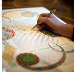Before the ceremony, Julia and Yair signed the Ketubah, a marriage contract that signifies their commitment to each other.