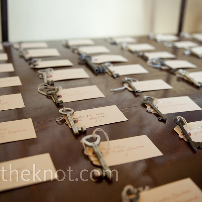 Julia's mom tirelessly collected keys from antique stores to attach to the escort cards for a vintage look.