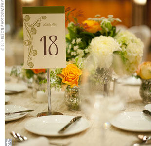 Printed on ivory cardstock, the table numbers were set off by a moss green Art Nouveau-style flourish that complemented the typeface.