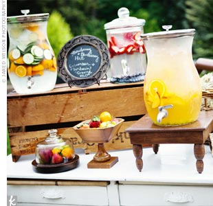 Kimberly and Jody set up a drink station featuring flavored water and their signature cocktail, white sangria.