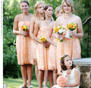 Floral-printed sundresses and turquoise jewelry created a fresh, summery look for the bridesmaids.