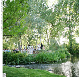 The traditional ceremony was held at Monet's Place in Hudson Gardens, where a stone pathway led to a shaded grassy area overlooking the pond.