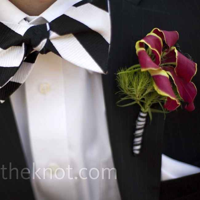 Casey's Oriental lily boutonniere was wrapped in striped ribbon and set off by a black-and-white bow tie.