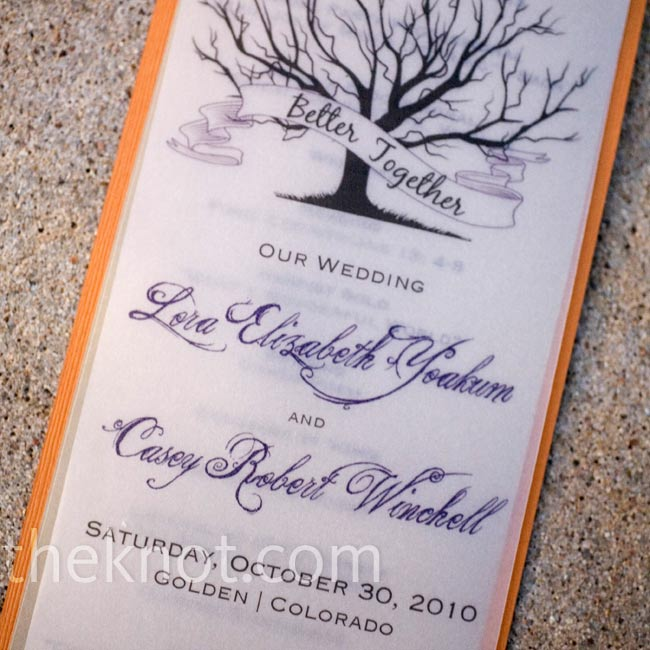 The three-page, narrow programs brought in the rich color and leafless tree motif from the invitations for a cohesive look.
