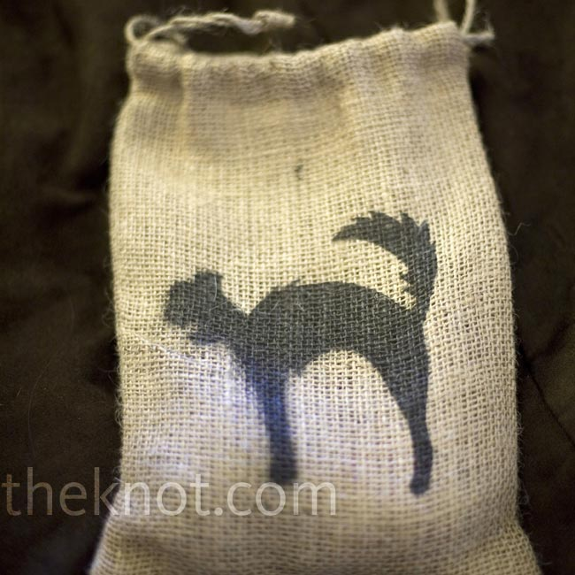 When guests checked in to the hotel, they received burlap bags stenciled with a Halloween cat and filled with treats.