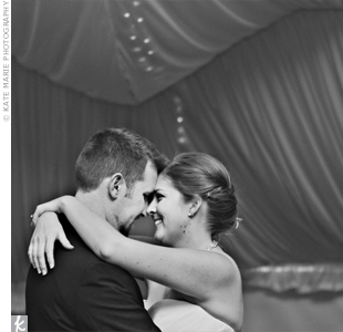 "Katie and Nick chose ""Crazy Love"" by Van Morrison for their first dance, not realizing until later that Katie's parents had also shared their first dance to it."