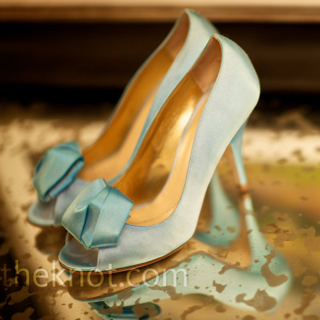 For her something blue, Andrea had these simple Kate Spade pumps dyed a shade of pale blue.