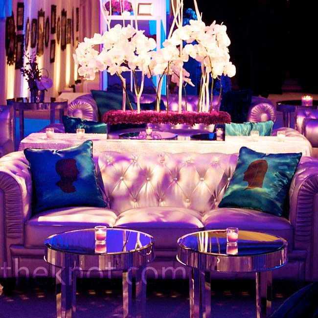 Purple lighting and cozy couches transformed the lounge area.