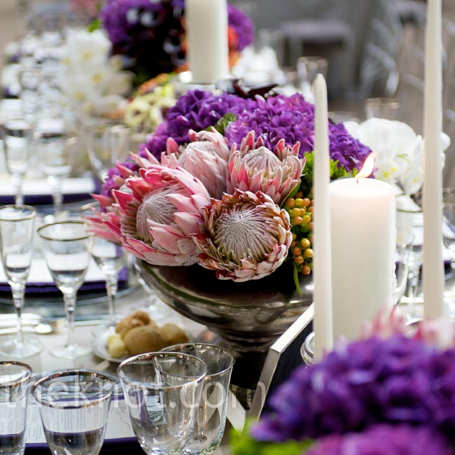 Compact mixes of flowers, both spiky (king proteas) and soft (hydrangeas), helped create the dream-inspired look they wanted.