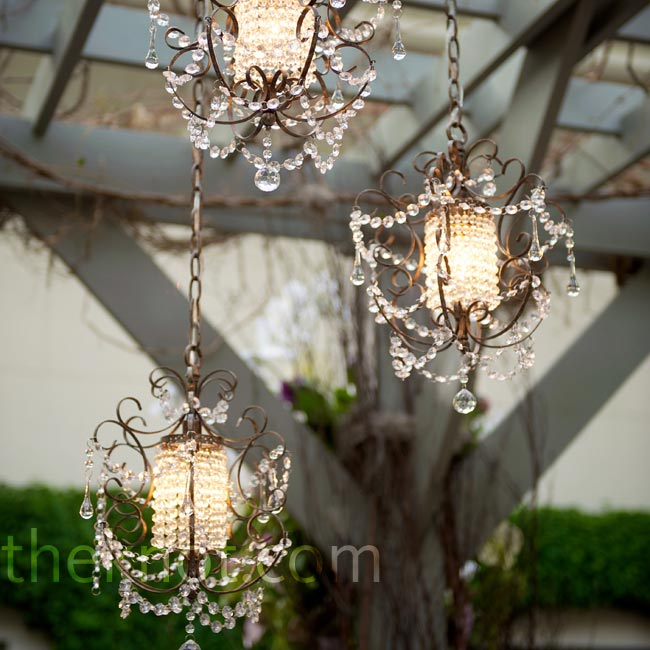 The bronze-and-crystal chandeliers hanging from the custom pergola above the head table amped up the romance.