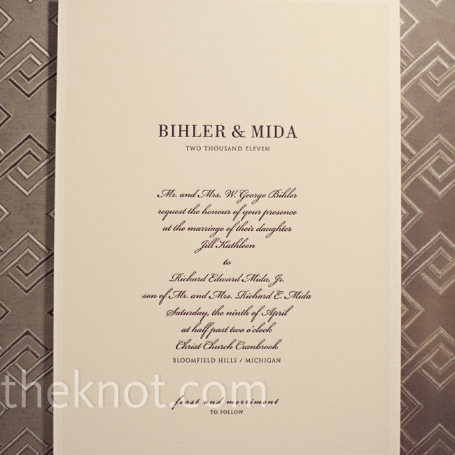While flipping through books of invitations at a local store, this cream-colored one with black letterpress stood out to Jill and Rick as bold, but simple and sophisticated.