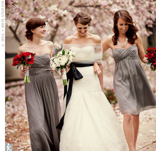 Laurens sisters chose the same style of graphite dress in different lengths to suit their personalities.