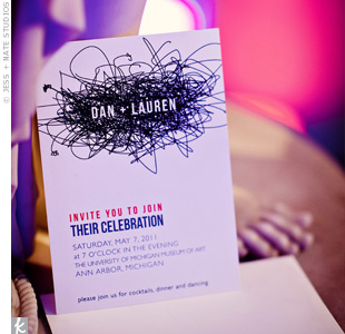 Lauren and Dan got lots of compliments on their scribble wedding invite, which perfectly suited their nontraditional styles.