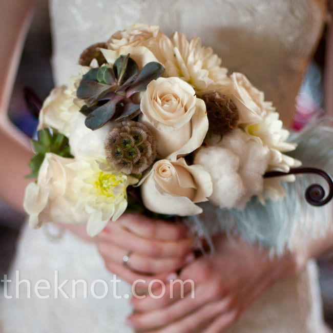 Alex carried a textured mix of roses, dahlias, scabiosa pods and succulents.