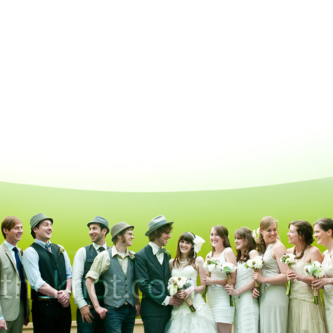 Alex gave her bridesmaids pictures and a color palette (off-whites to pale neutrals) to let them pick their own dresses. She and Travis gave the groomsmen the okay for dark jeans, which they dressed up with vests and hats.